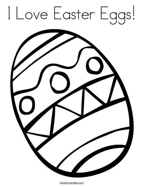 I Love Easter Eggs Coloring Page - Twisty Noodle
