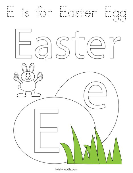E is for Easter Egg Coloring Page