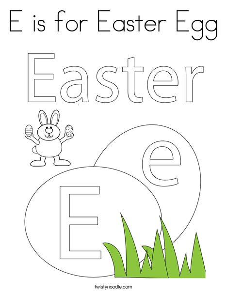 E is for Easter Egg Coloring Page - Twisty Noodle