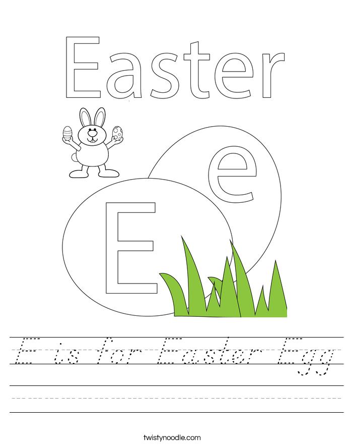 E is for Easter Egg Worksheet