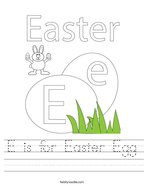 E is for Easter Egg Handwriting Sheet