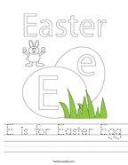 E is for Easter Egg Handwriting Sheet