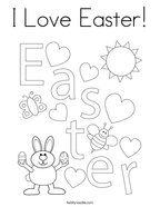 I Love Easter Coloring Page