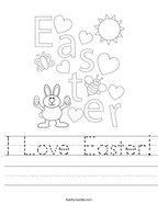 I Love Easter Handwriting Sheet