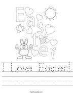 I Love Easter Handwriting Sheet