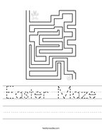 Easter Maze Handwriting Sheet