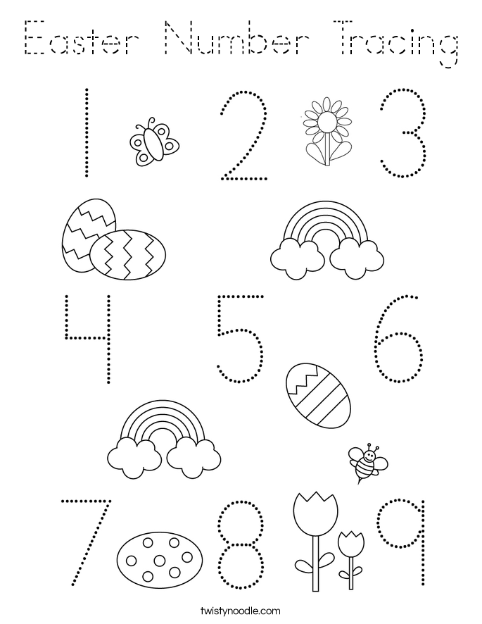 Easter Number Tracing Coloring Page