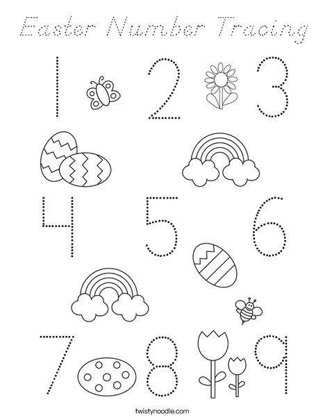 Easter Number  Coloring Page