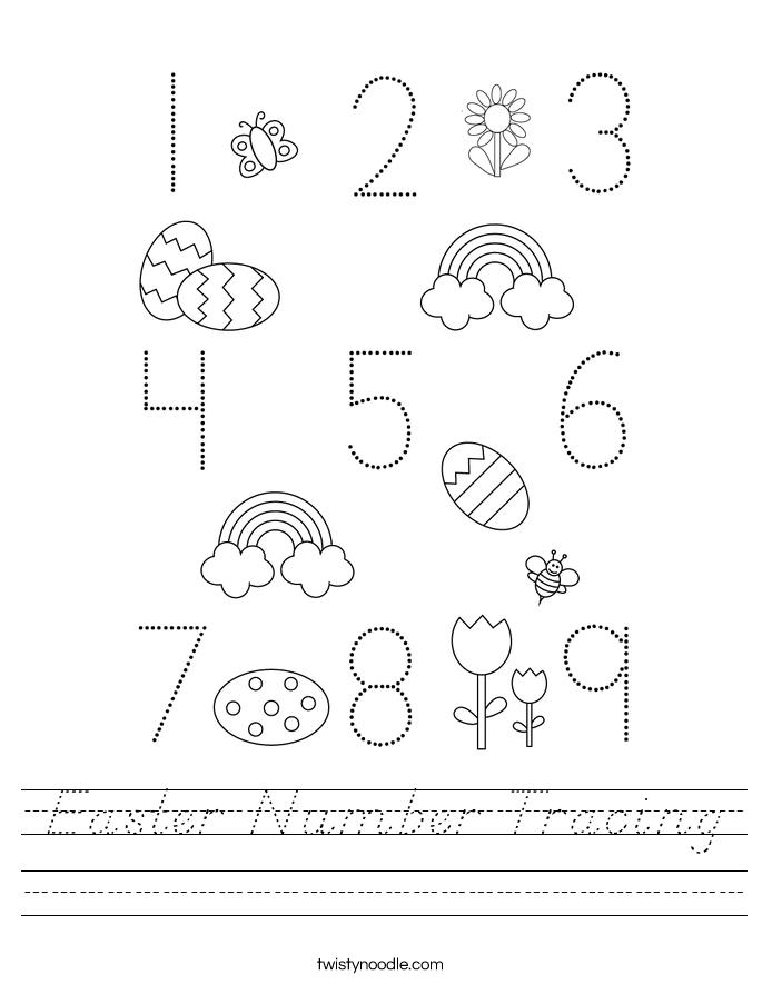 Easter Number Tracing Worksheet