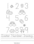Easter Number Tracing Handwriting Sheet
