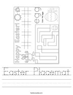 Easter Placemat Handwriting Sheet