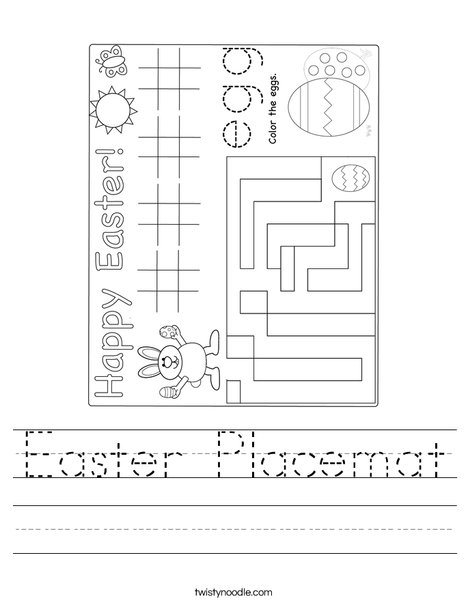 Easter Placemat Worksheet