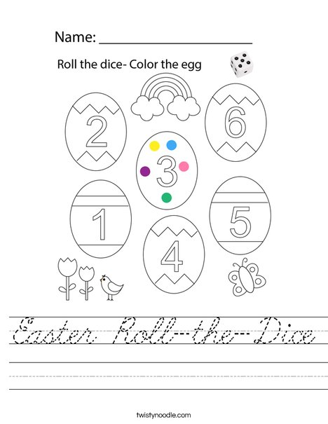 Easter Roll-the-Dice Worksheet