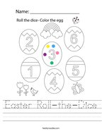 Easter Roll-the-Dice Handwriting Sheet