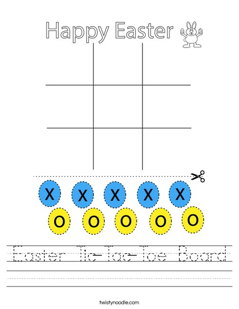 Easter Tic-Tac-Toe Board Worksheet