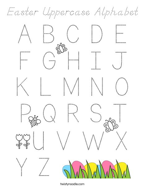 Easter Uppercase Alphabet Coloring Page