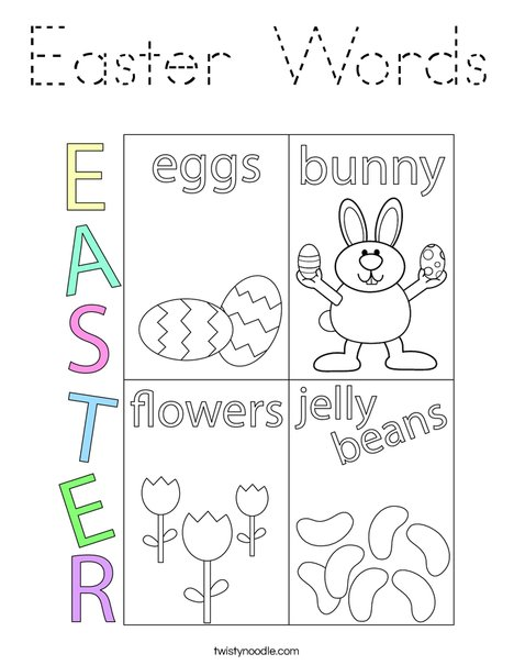 Easter Words Coloring Page