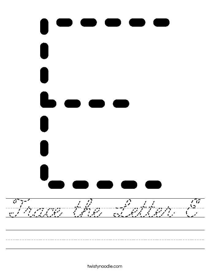 Trace the Letter E Worksheet