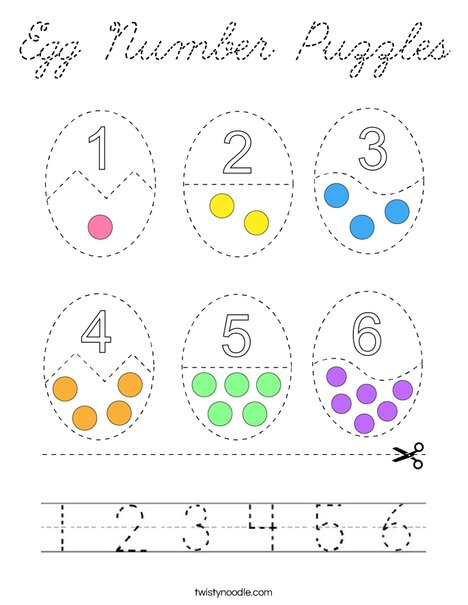 Egg Counting Puzzles Coloring Page