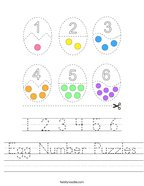 Egg Number Puzzles Handwriting Sheet