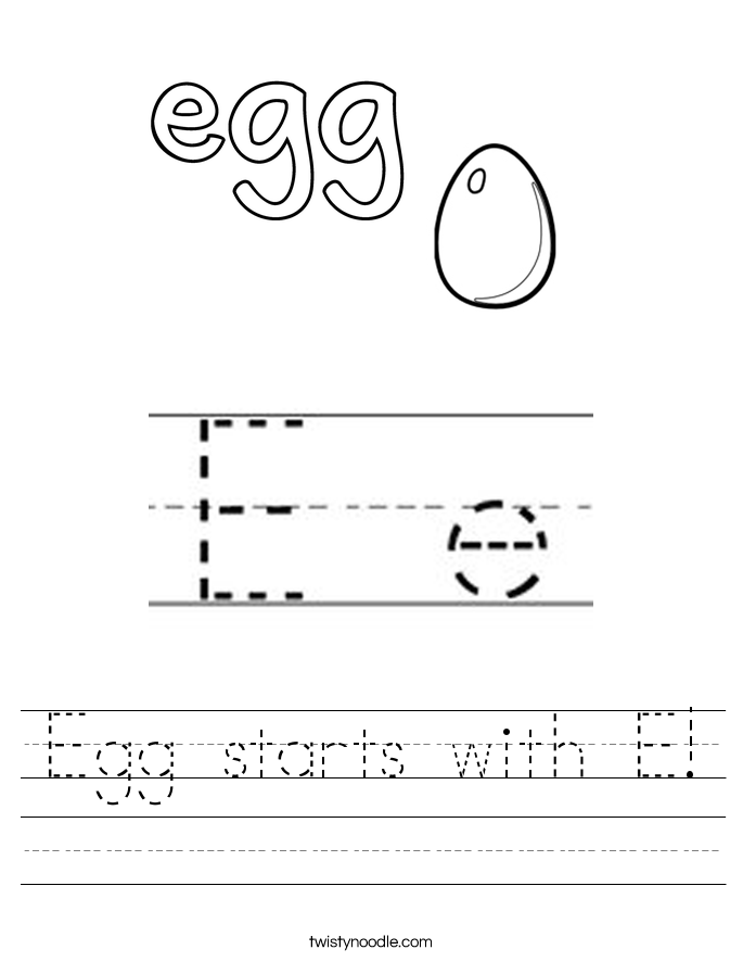 Egg starts with E! Worksheet