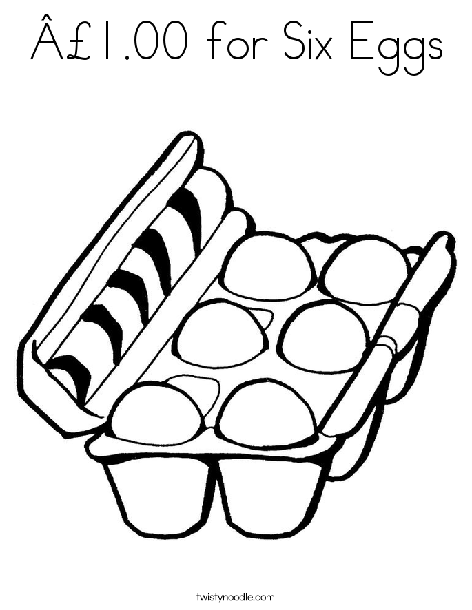 £1.00 for Six Eggs Coloring Page