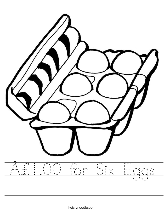 £1.00 for Six Eggs Worksheet