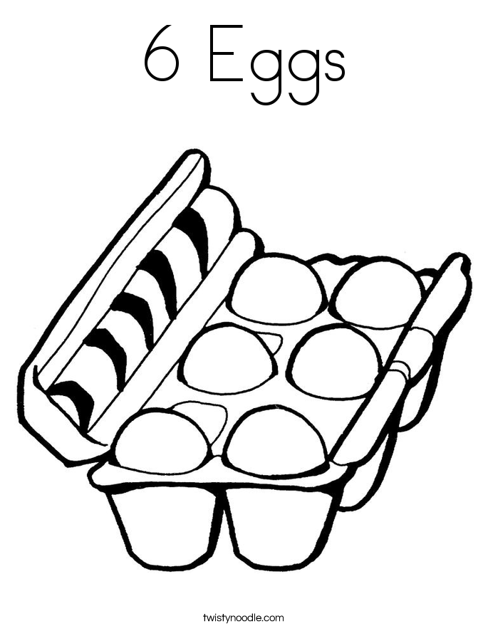 6 eggs coloring page