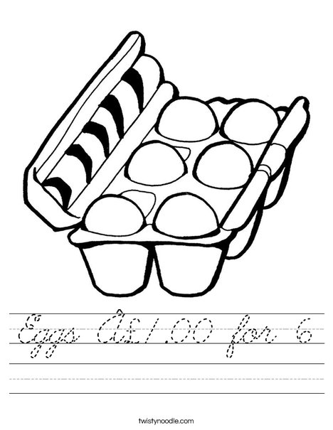 Eggs in a Carton Worksheet