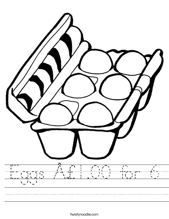 Eggs £1.00 for 6 Worksheet