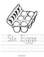 Six Eggs Handwriting Sheet