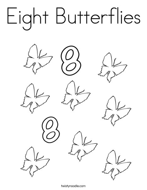 Eight Butterflies Coloring Page