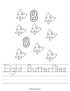 Eight Butterflies Handwriting Sheet