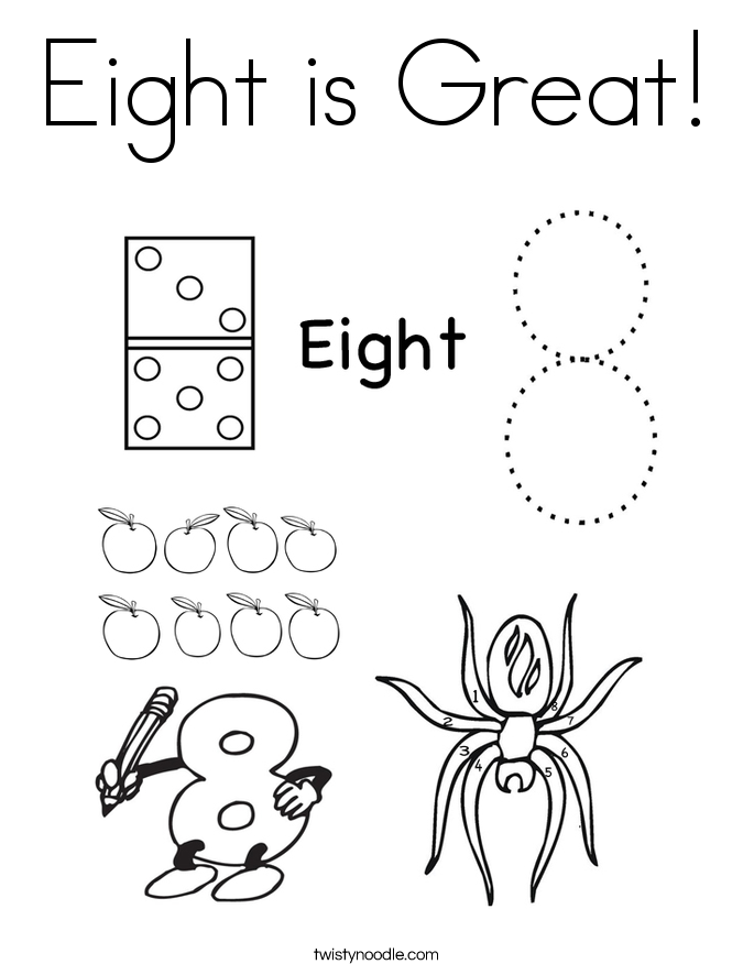 Eight is Great Coloring Page - Twisty Noodle