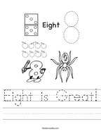 Eight is Great Handwriting Sheet