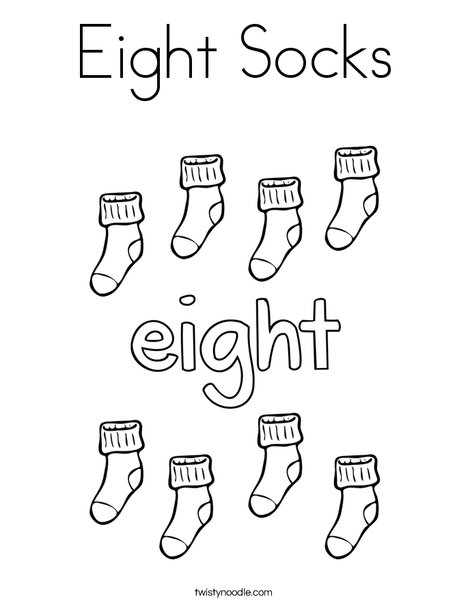 Eight Socks Coloring Page