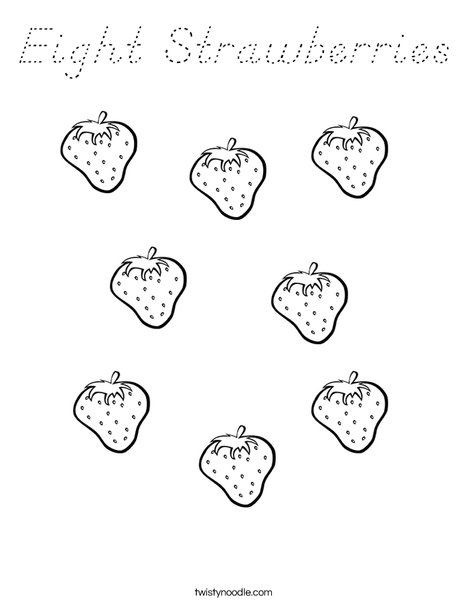 Eight Strawberries Coloring Page