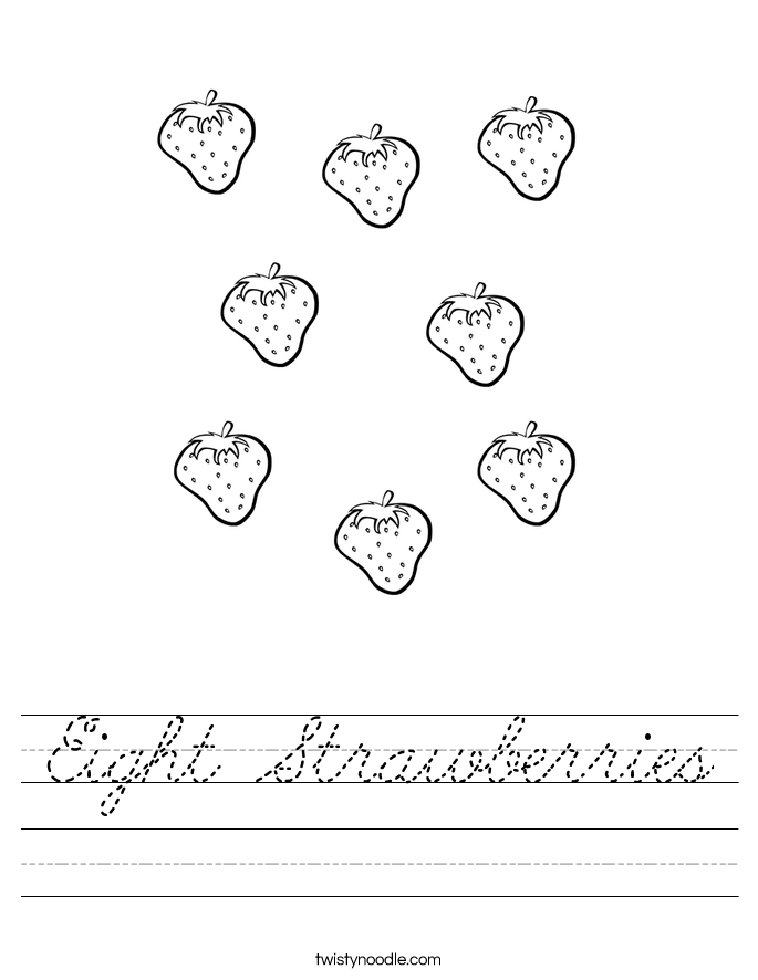 Eight Strawberries Worksheet