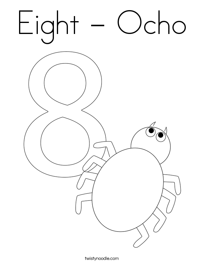 Eight - Ocho Coloring Page