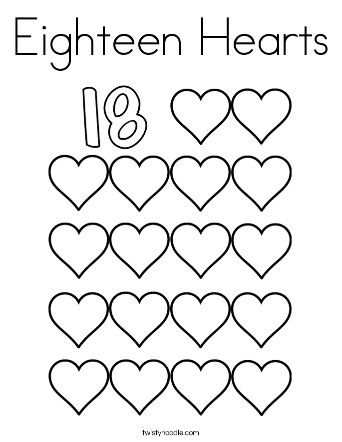18b19 coloring pages | Eighteen Hearts Coloring Page - Twisty Noodle