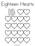 Eighteen Hearts Coloring Page