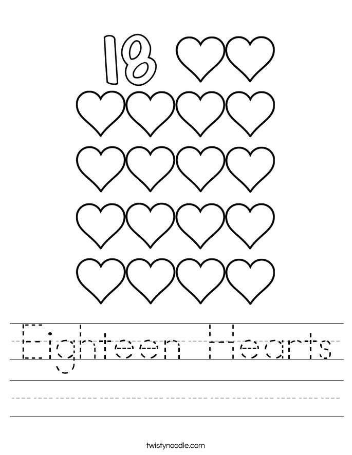 Number 18 writing, counting and identification printable ...