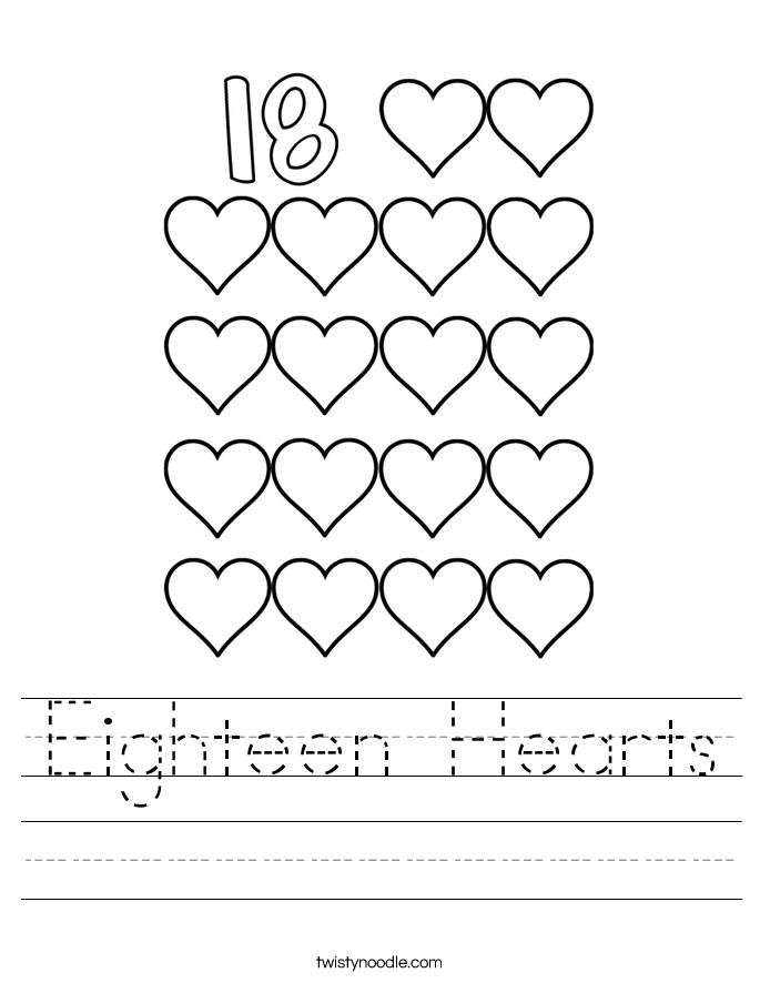 Eighteen Hearts Worksheet