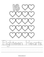 Eighteen Hearts Handwriting Sheet