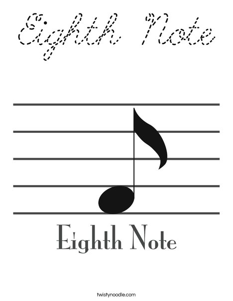 Eighth Note Coloring Page