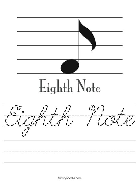 eighth note worksheet cursive twisty noodle. Black Bedroom Furniture Sets. Home Design Ideas