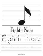 Eighth Note Handwriting Sheet