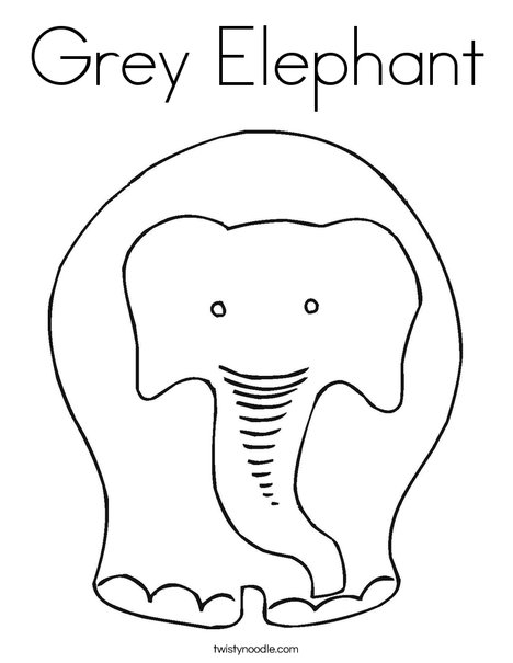 Grey Elephant Coloring Page