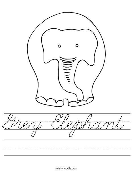 Grey Elephant Worksheet