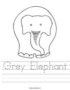 Grey Elephant Handwriting Sheet